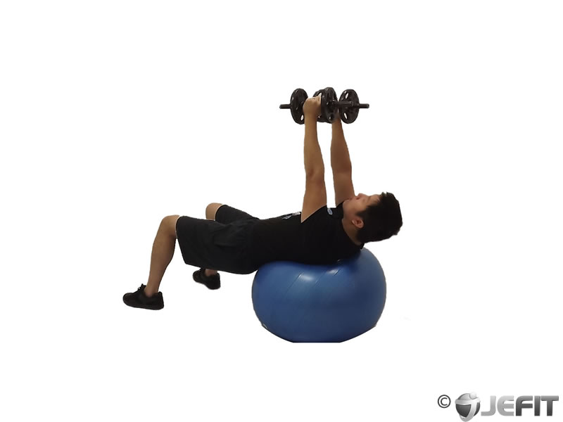 Dumbbell Fly on Exercise Ball