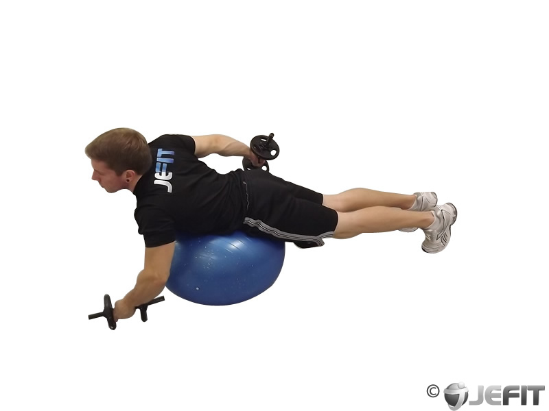 Dumbbell Alternating Cobra Prone Exercise Ball