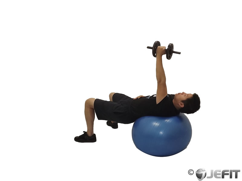 Dumbbell One Arm French Press on Exercise Ball