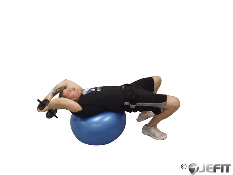 Dumbbell Pullover Hip Extension on Exercise Ball