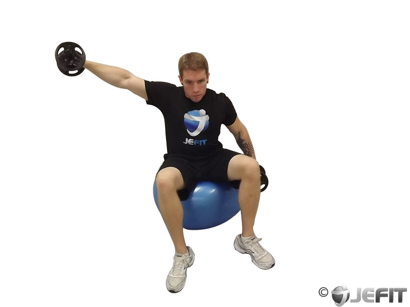 Dumbbell Alternating Lateral Raise on Exercise Ball