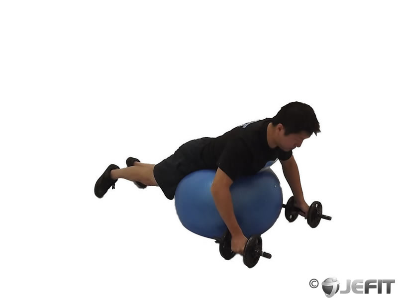 Dumbbell Rear Delt Fly on Exercise Ball