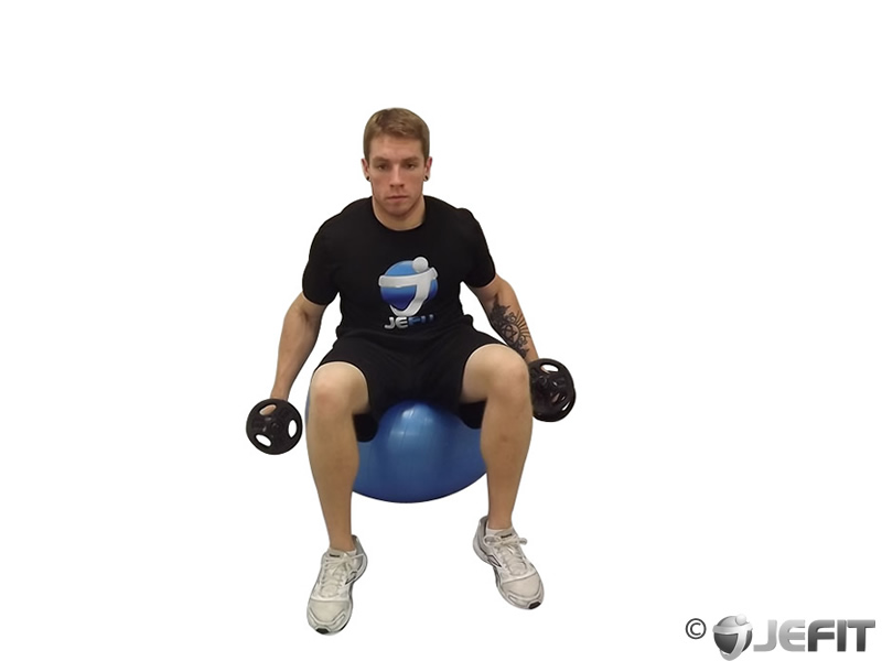 Dumbbell Shoulder Raise on Exercise Ball