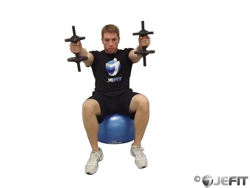 Dumbbell Shoulder Raise On Exercise Ball Exercise Database Jefit