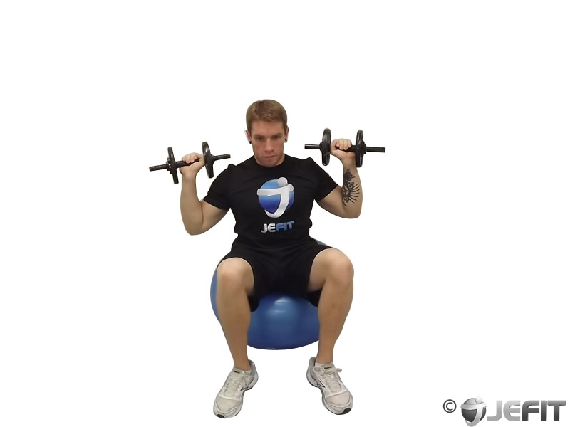 Dumbbell Seated Shoulder Press on Exercise Ball