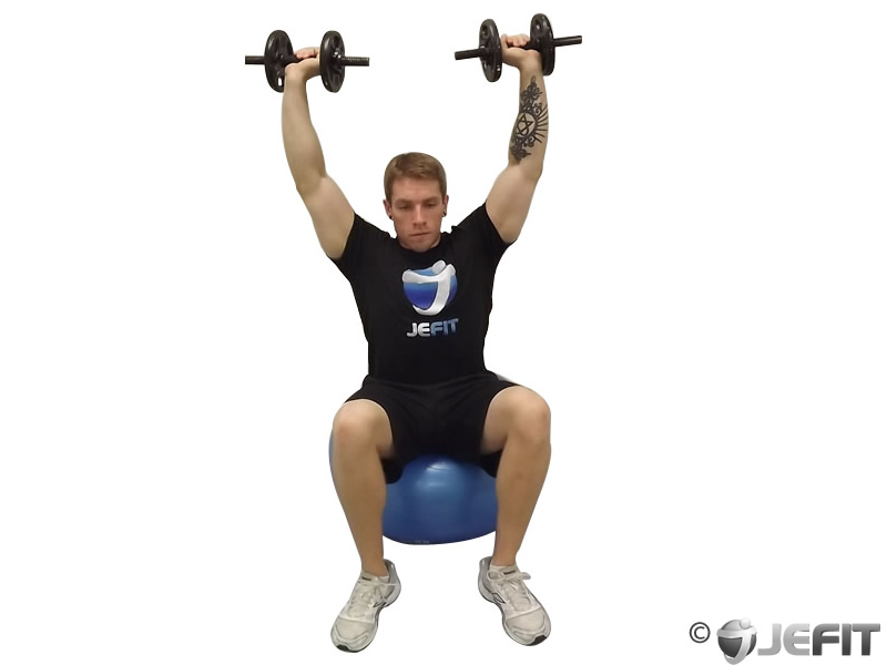 Dumbbell Seated Shoulder Press On Exercise Ball Exercise Database