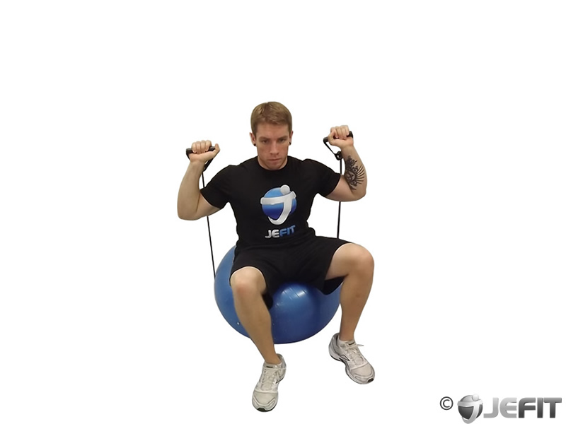 Bands Seated Shoulder Press on Exercise Ball