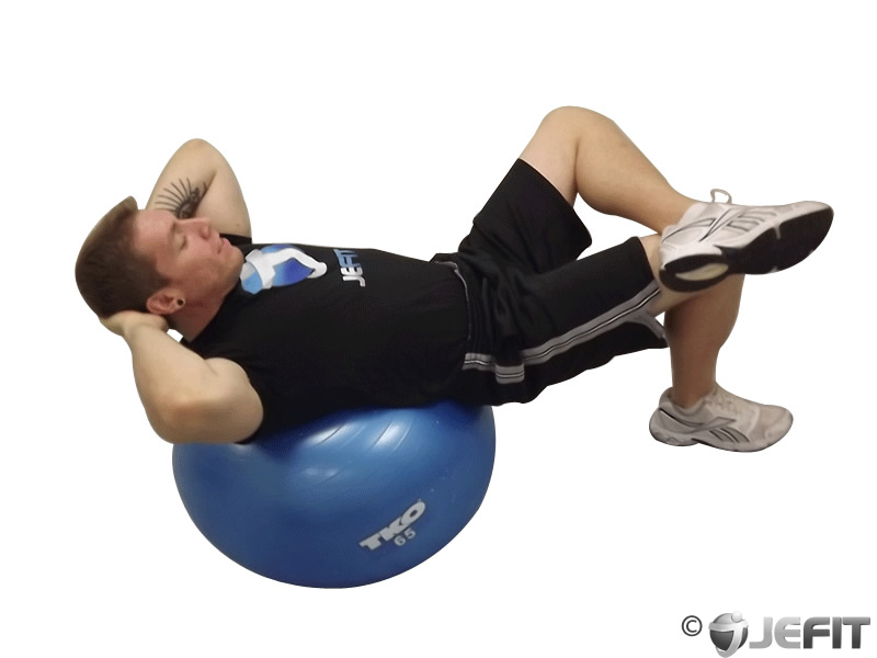 Exercise Ball Cross Legged Crunch