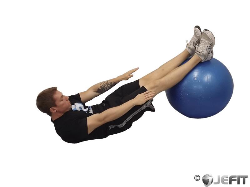 Exercise Ball Straight Legged Crunch - Exercise Database   Jefit ...