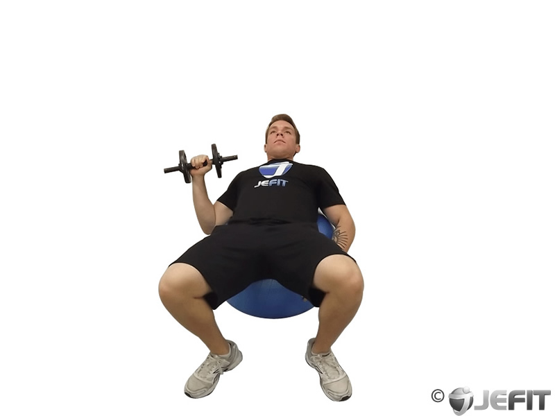 Dumbbell One Arm Press on Exercise Ball