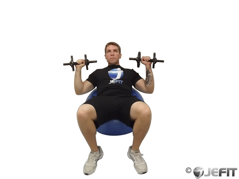 Dumbbell Incline Press on Exercise Ball