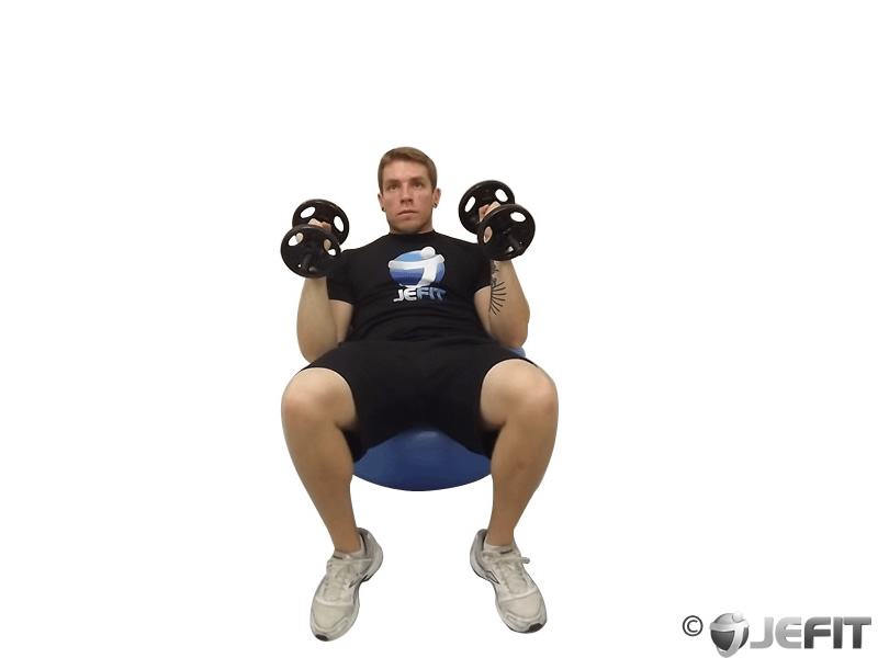 Dumbbell Incline Hammer Press on Exercise Ball