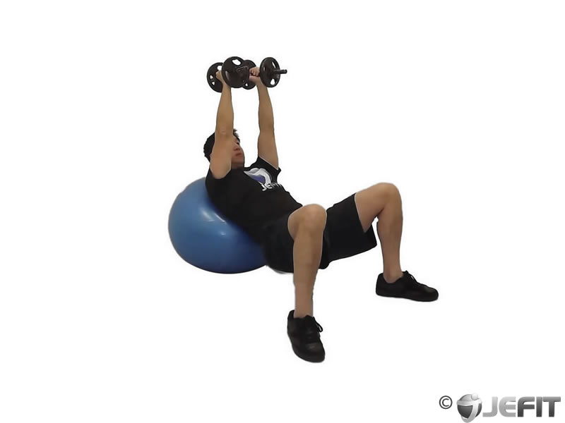 Dumbbell Incline Fly on Exercise Ball