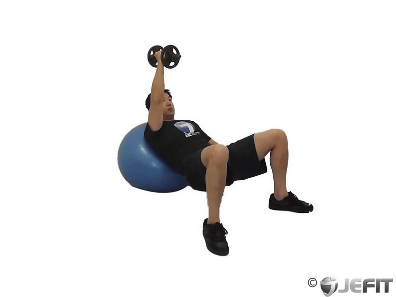 Dumbbell Incline One Arm Fly on Exercise Ball