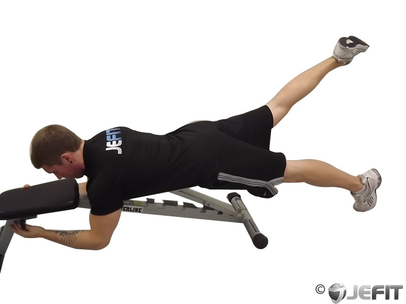 Alternate Leg Reverse Hyper on Flat Bench