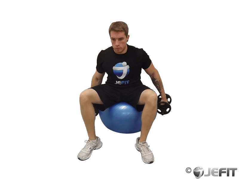 Dumbbell Lateral Raises on Exercise Ball
