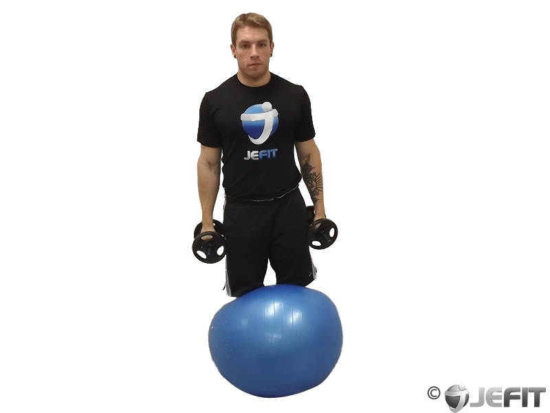 Dumbbell Kneeling Lateral Raise on Exercise Ball