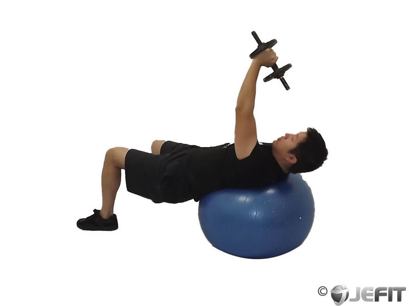 Dumbbell One Arm Pullover on Exercise Ball