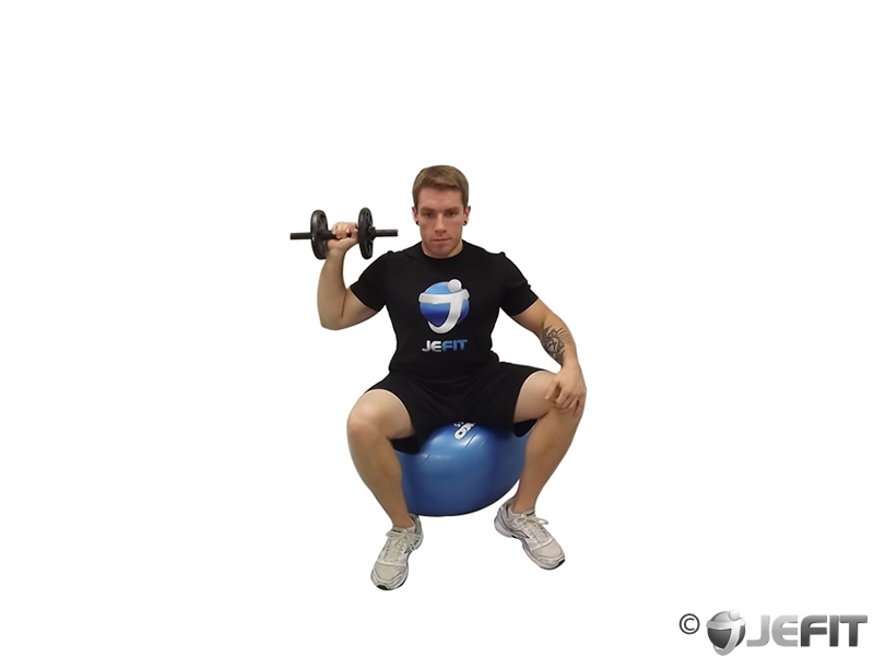 Dumbbell One Arm Shoulder Press on Exercise Ball