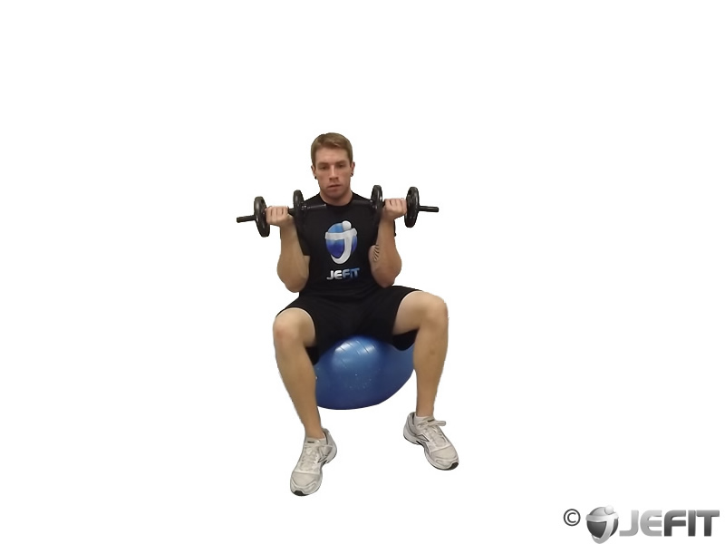 Dumbbell Seated Arnold Press on Exercise Ball