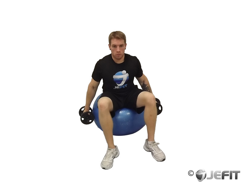 Dumbbell Shrugs on Exercise Ball