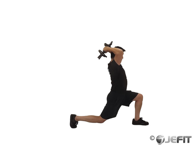 Dumbbell Forward Lunge Triceps Extension