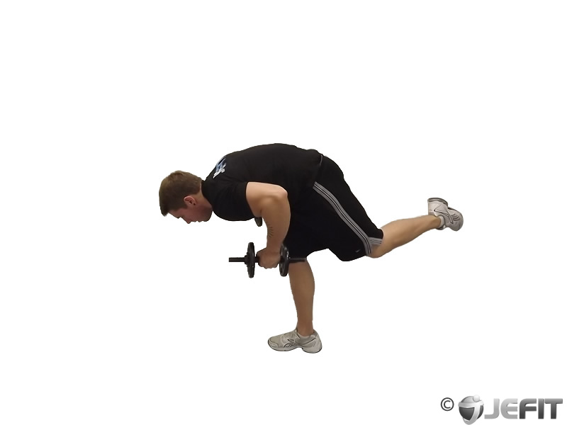 Dumbbell Tricep Kickback With Stork Stance