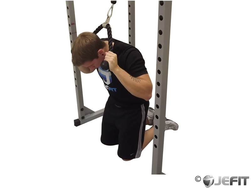 Cable Kneeling Crunch with Alternating Oblique Twists