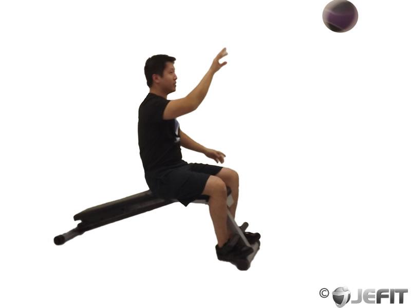 Medicine Ball Decline One Arm Overhead Throw Exercise