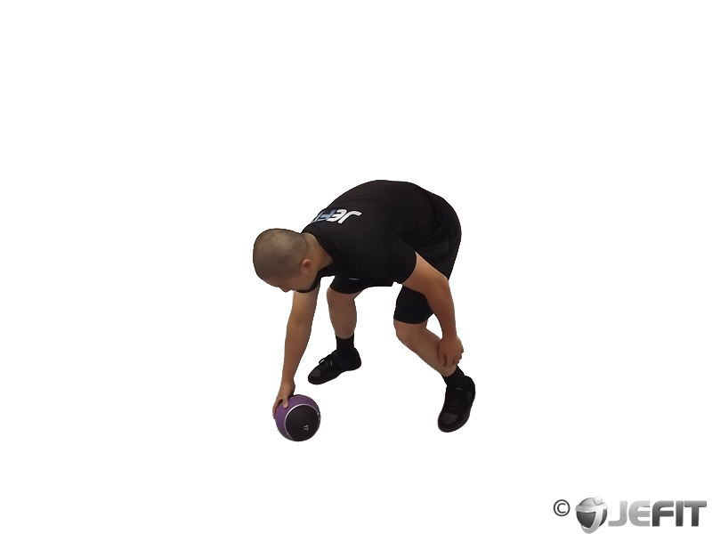 Medicine Ball Chest Push from 3 Point Stance