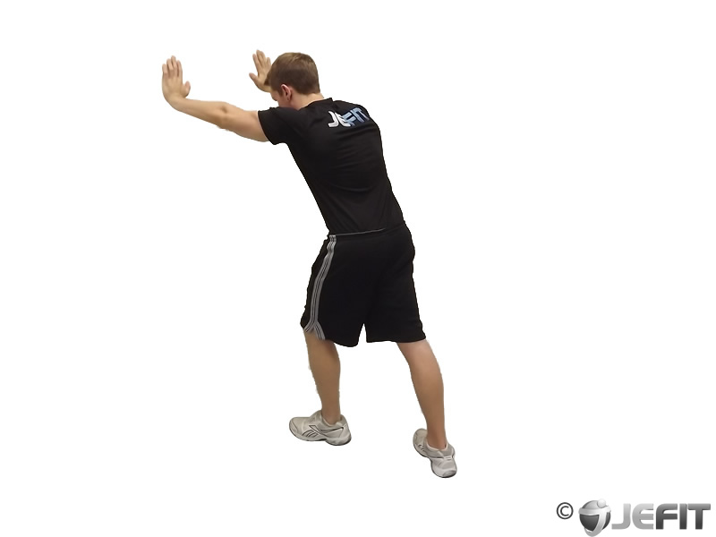 Calf Stretch With Hands Against Wall