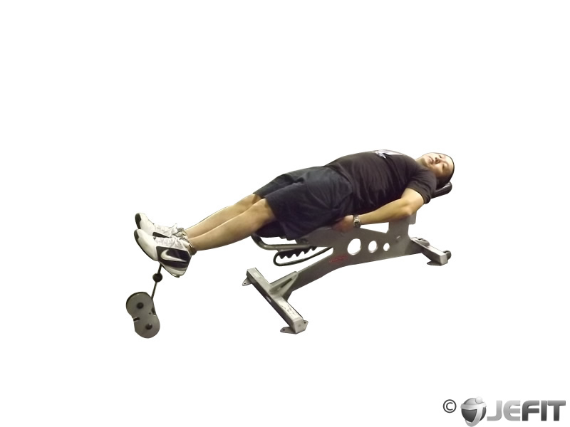 Lying Cable Knee Raise on Bench