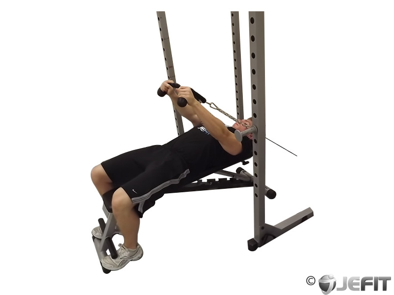Cable Extensions Workout : Cable rope extension lying pullover exercise database