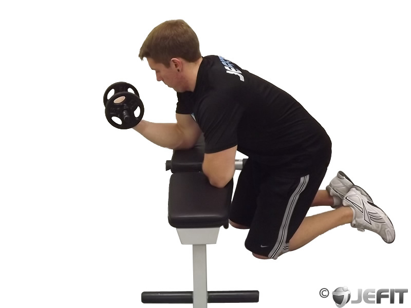 Dumbbell One Arm Wrist Curl Over Bench