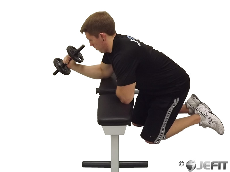 Dumbbell One Arm Neutral Wrist Curl Over Bench