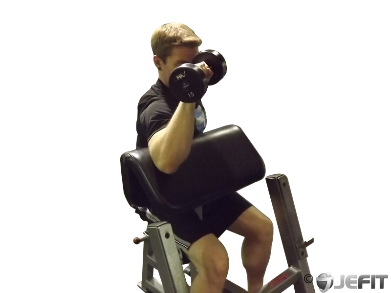 Dumbbell One Arm Reverse Preacher Curl