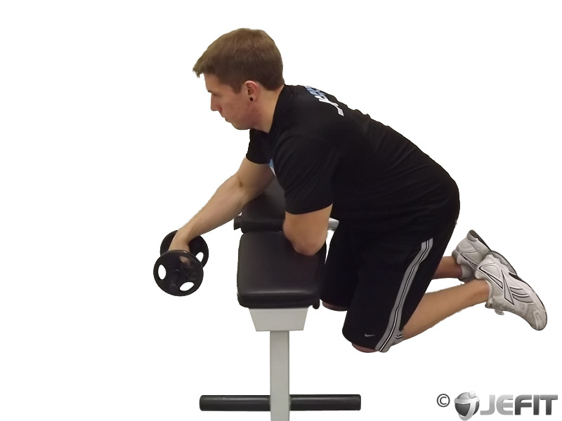 Dumbbell One Arm Reverse Wrist Curl Over Bench
