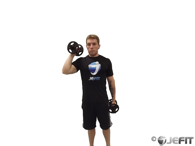 Dumbbell One Arm Standing Palms In Press