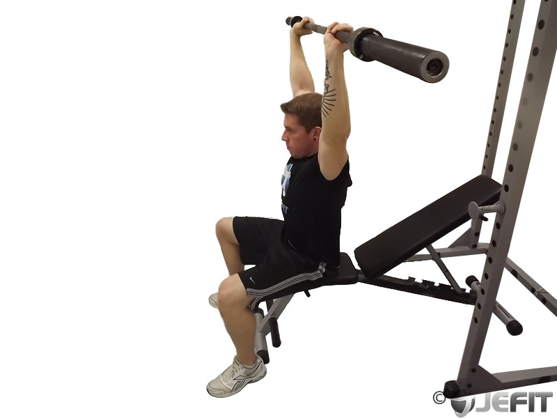 Barbell Seated High Front Raise