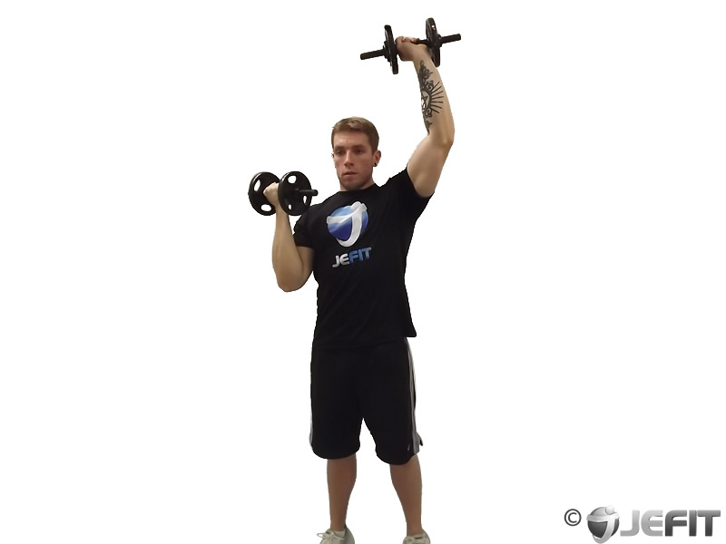 Dumbbell Alternate Standing Arnold Press Exercise