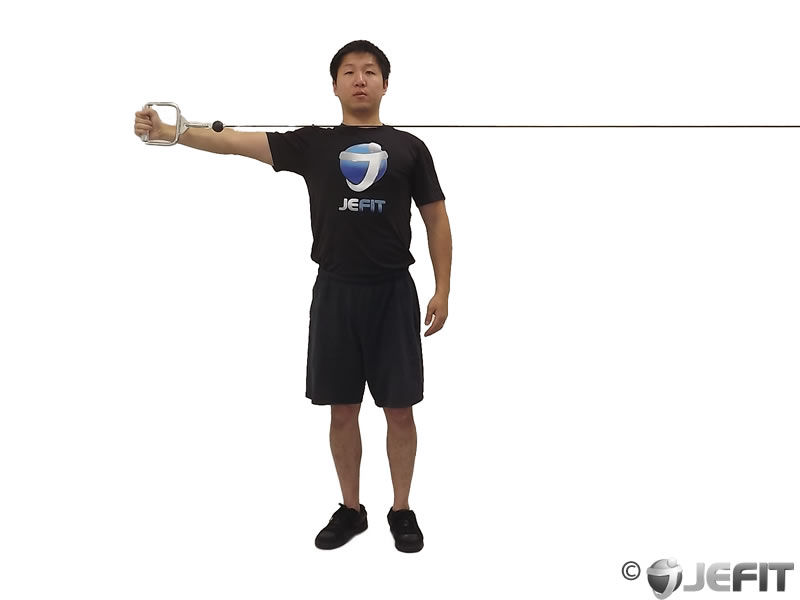 Cable one arm reverse fly exercise database jefit for Floor underhand cable fly