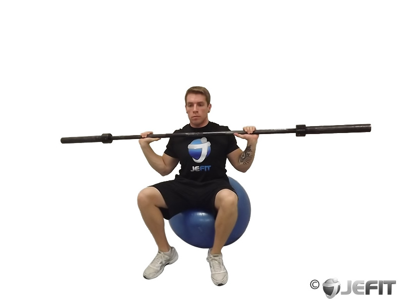 Barbell Press on Exercise Ball