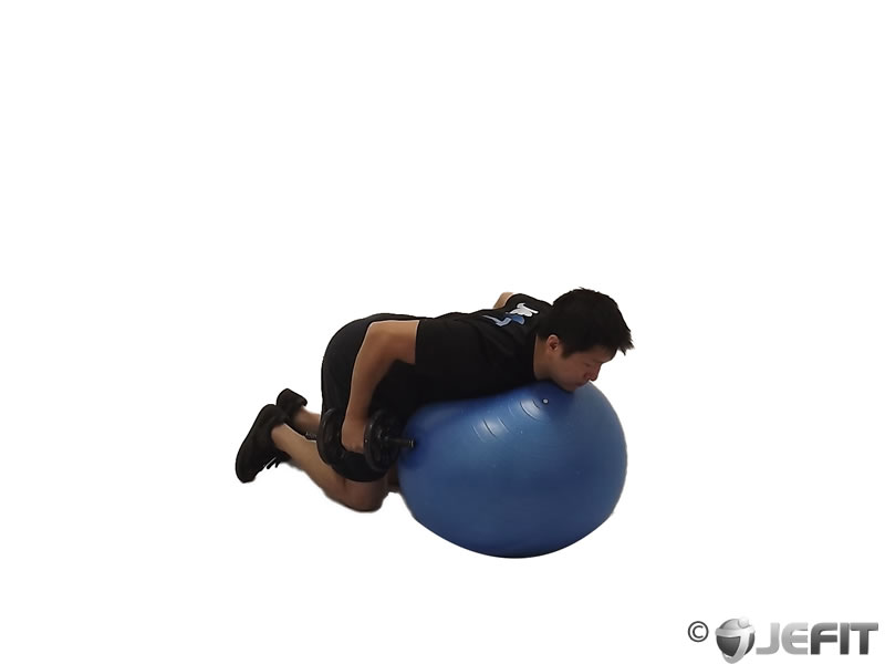 Dumbbell Kickbacks on Exercise Ball