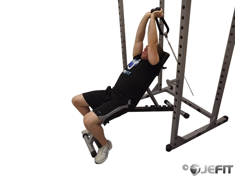 Cable Extensions Workout : Cable incline tricep extension exercise database jefit