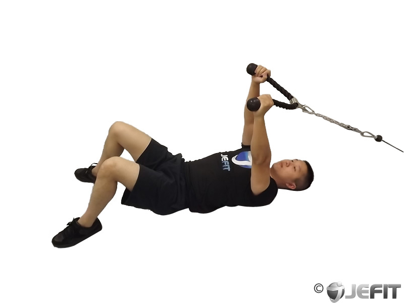Cable Rope Lying on Floor Tricep Extension