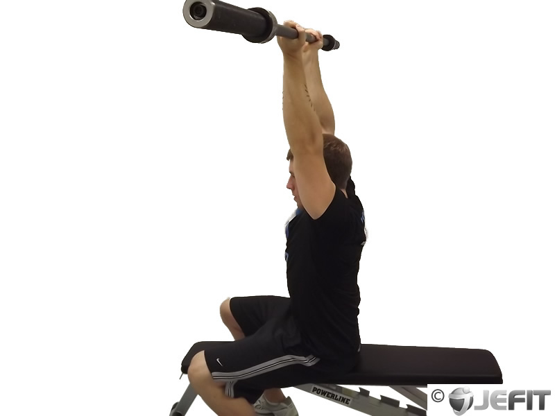 EZ Bar Seated Reverse Grip French Press
