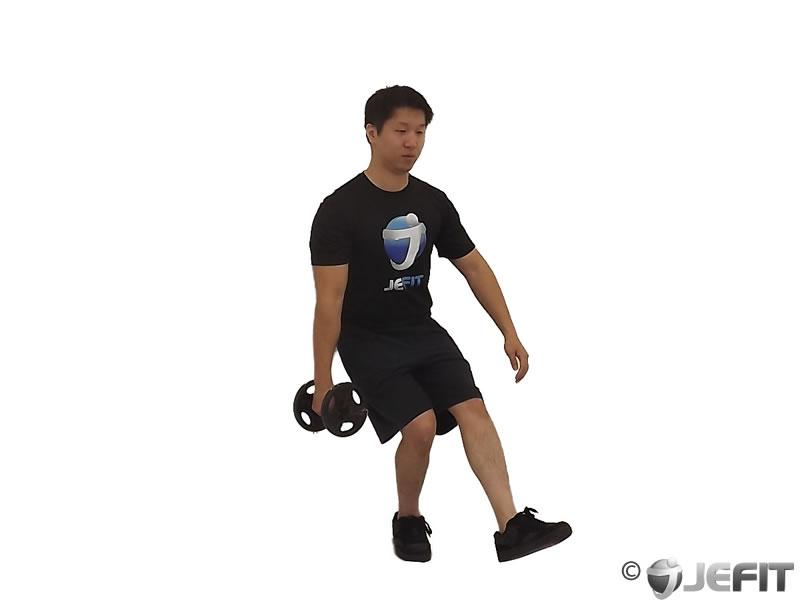 Dumbbell Alternating Bicep Curl With Leg Raised On Exercise Ball