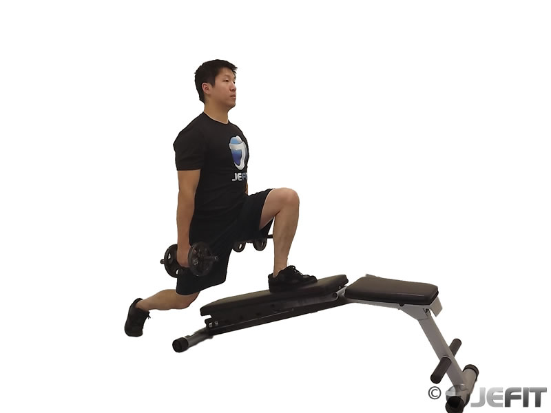 Dumbbell Decline Bench Lunge