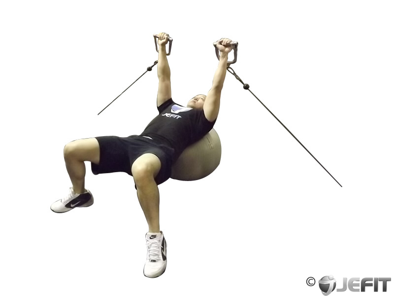 Cable Press on Exercise Ball