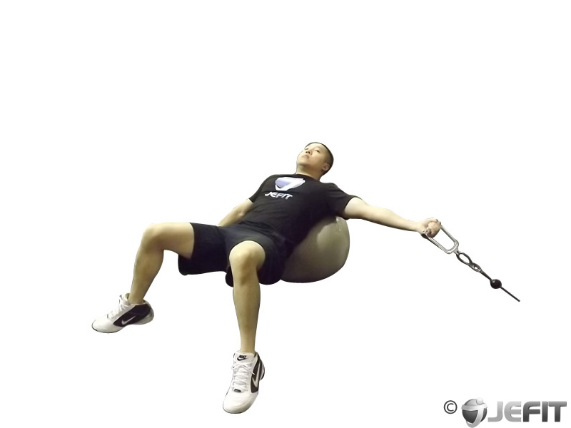 Cable One Arm Fly on Exercise Ball